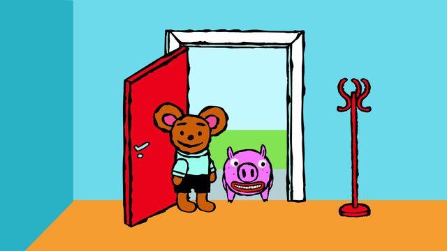 Pinos dagbok - syntolkat : Pino och grisen