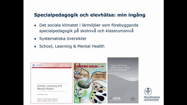 UR Samtiden - Specialpedagogikens dag 2018 : Barn och ungdomars hälsa och välbefinnande