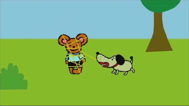 Pinos dagbok - syntolkat : Pino och hunden